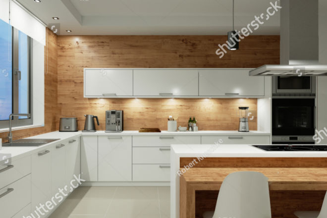 stock-photo-lighting-in-white-kitchen-with-dining-area-at-night-d-rendering-1014217039 copy